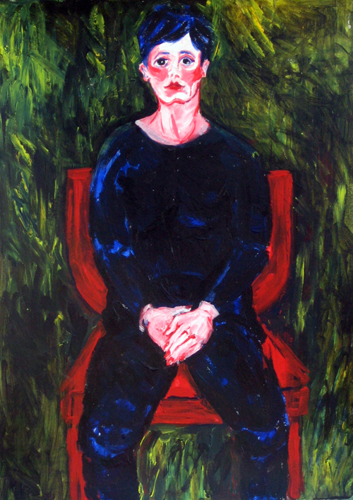 Flushed Woman on a Red Chair by Hadasa Stoler